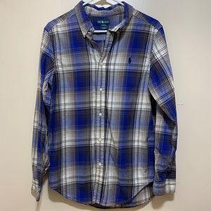 Ralph Lauren Button Up Blue Plaid Boys XL 18-20